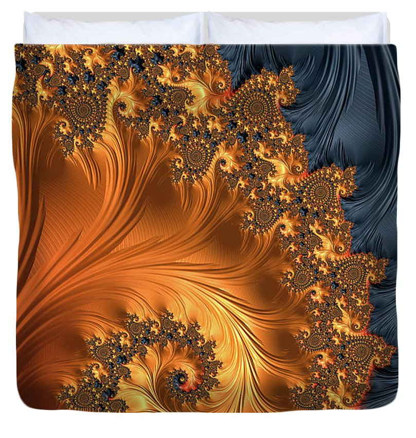 Fractal Spiral Orange Golden Black - Duvet Cover