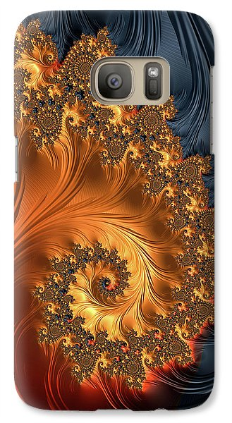 Fractal Spiral Orange Golden Black - Phone Case