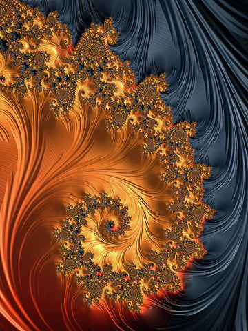 Fractal Spiral Orange Golden Black - Art Print