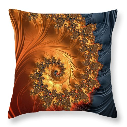 Fractal Spiral Orange Golden Black - Throw Pillow