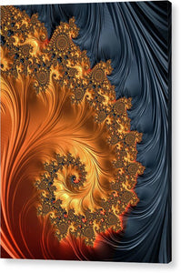 Fractal Spiral Orange Golden Black - Acrylic Print