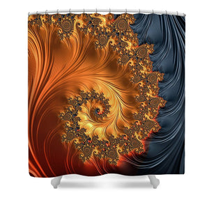Fractal Spiral Orange Golden Black - Shower Curtain