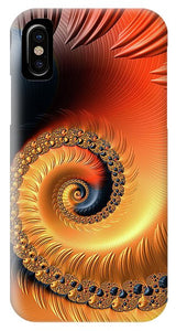 Fractal Spiral Orange Red And Black Tones - Phone Case