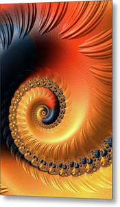 Fractal Spiral Orange Red And Black Tones - Metal Print