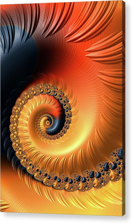 Fractal Spiral Orange Red And Black Tones - Acrylic Print
