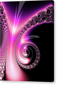 Fractal Spiral Pink Purple And Black - Canvas Print