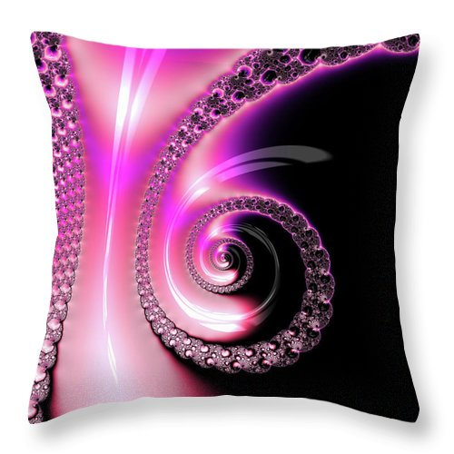 Fractal Spiral Pink Purple And Black - Throw Pillow