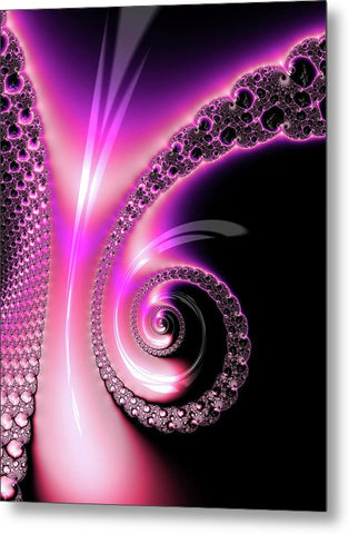 Fractal Spiral Pink Purple And Black - Metal Print