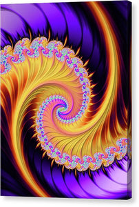 Fractal Spiral Purple And Gold Vertical - Canvas Print