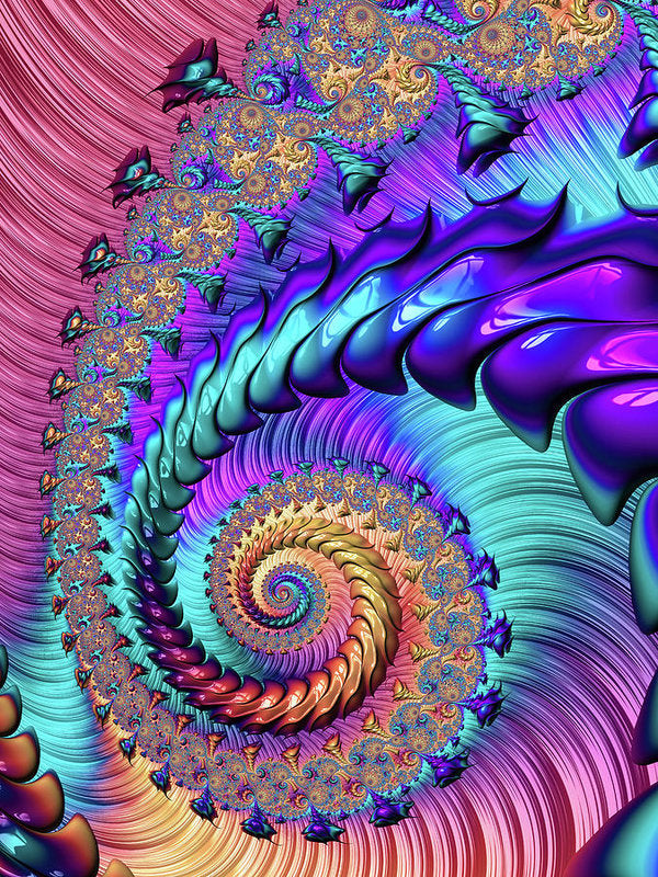 Fractal Spiral Purple Turquoise Red - Art Print