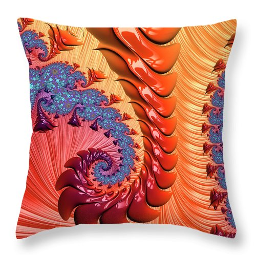 Fractal Spiral Warm Orange And Red Tones - Throw Pillow