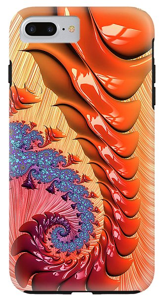 Fractal Spiral Warm Orange And Red Tones - Phone Case
