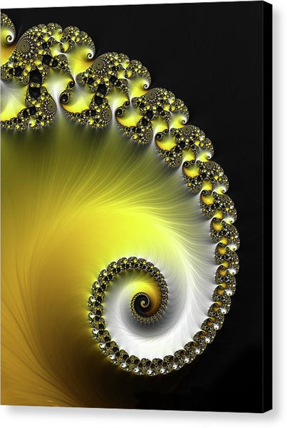 Fractal Spiral Yellow And Black - Canvas Print