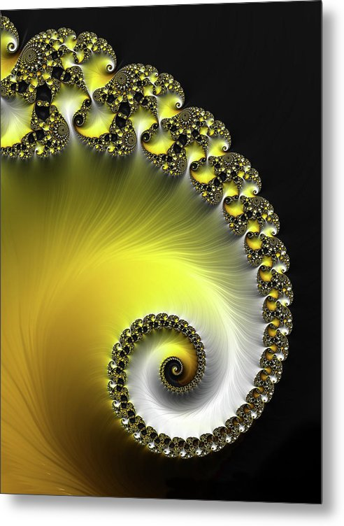 Fractal Spiral Yellow And Black - Metal Print