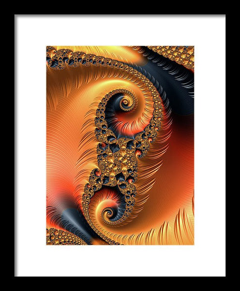 Fractal Spirals With Warm Colors Orange Coral - Framed Print