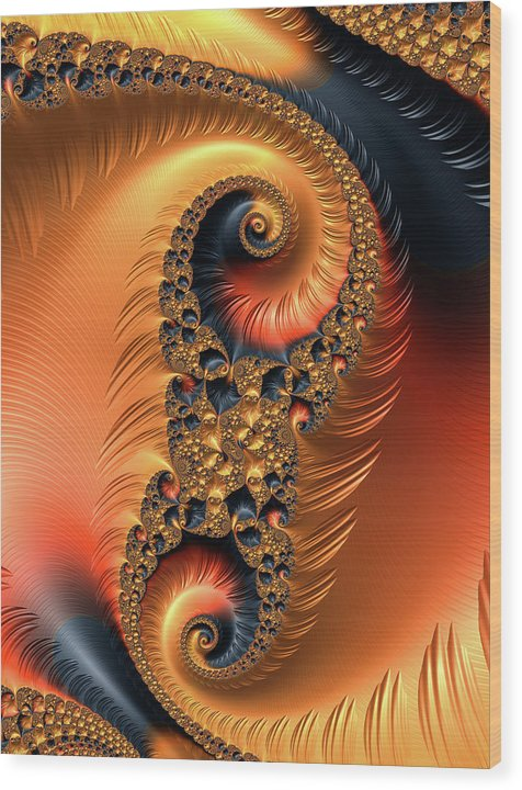 Fractal Spirals With Warm Colors Orange Coral - Wood Print