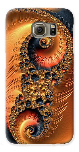 Fractal Spirals With Warm Colors Orange Coral - Phone Case