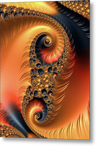 Fractal Spirals With Warm Colors Orange Coral - Metal Print