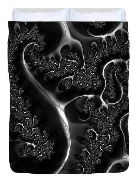 Fractal Veins Black And White - Duvet Cover