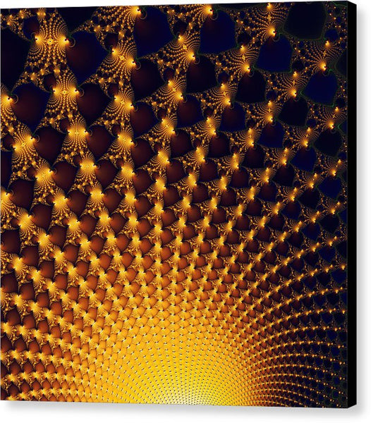 Fractal Yellow Golden And Black Firework - Canvas Print