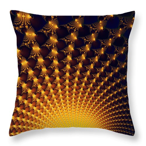 Fractal Yellow Golden And Black Firework - Throw Pillow