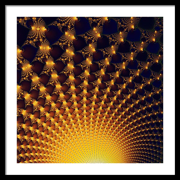 Fractal Yellow Golden And Black Firework - Framed Print