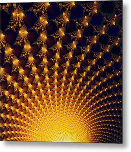 Fractal Yellow Golden And Black Firework - Metal Print