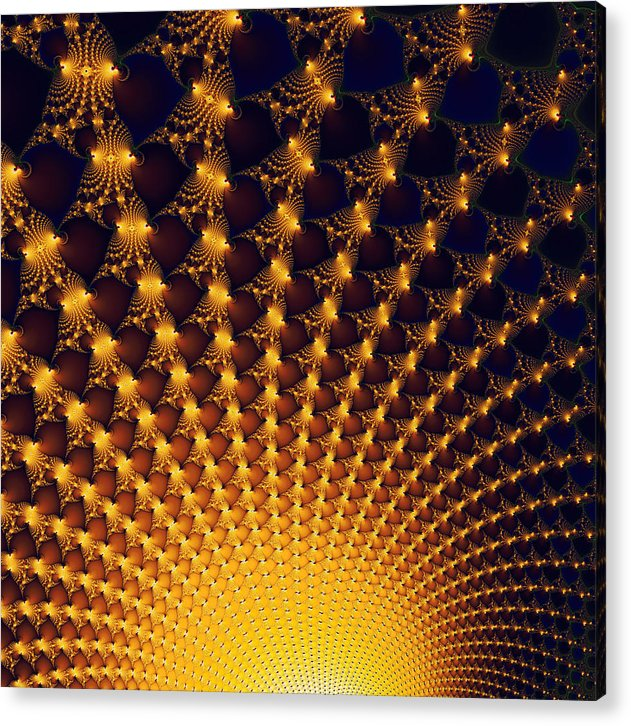 Fractal Yellow Golden And Black Firework - Acrylic Print