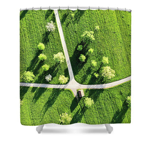 Fresh Green Meadow With Trees In Spring Aerial View - Shower Curtain