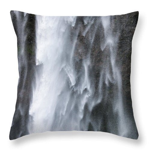 Frozen Water - Waterfall Detail - Seljalandsfoss Iceland  - Throw Pillow