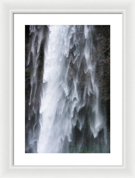 Frozen Water - Waterfall Detail - Seljalandsfoss Iceland  - Framed Print