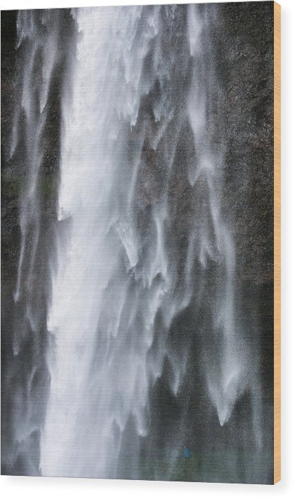 Frozen Water - Waterfall Detail - Seljalandsfoss Iceland  - Wood Print