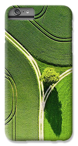 Geometric Landscape 05 Tree And Green Fields Aerial View - Phone Case