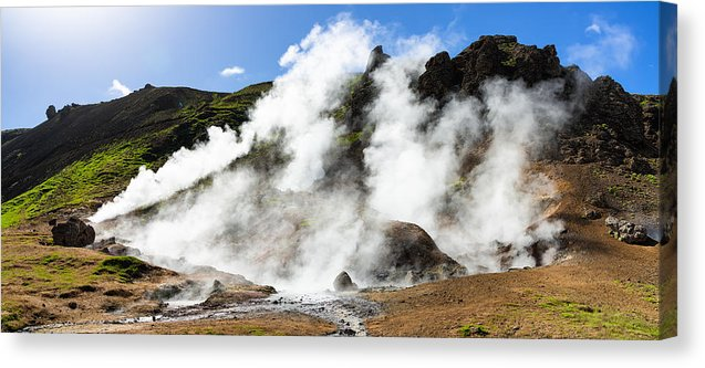 Geothermal Area With Steaming Hot Springs In Iceland - Canvas Print