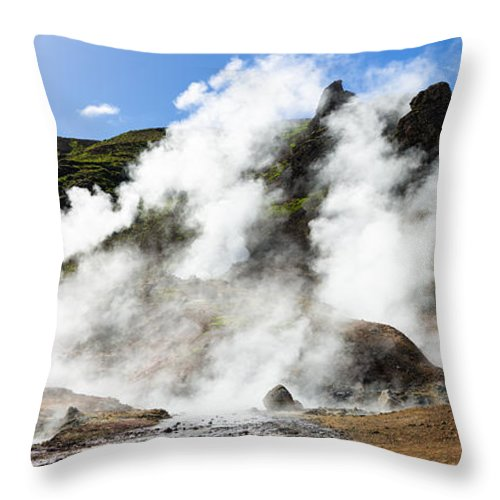 Geothermal Area With Steaming Hot Springs In Iceland - Throw Pillow