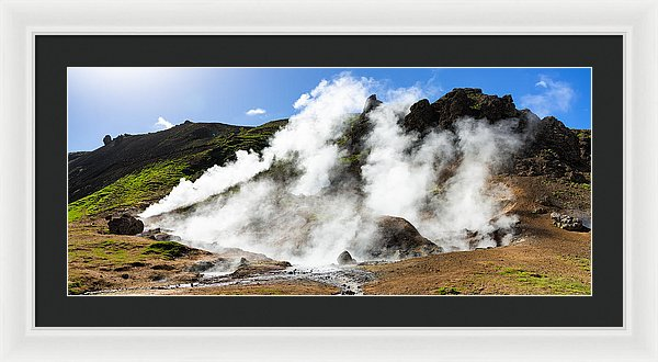 Geothermal Area With Steaming Hot Springs In Iceland - Framed Print