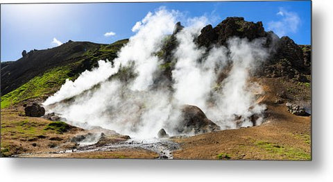 Geothermal Area With Steaming Hot Springs In Iceland - Metal Print