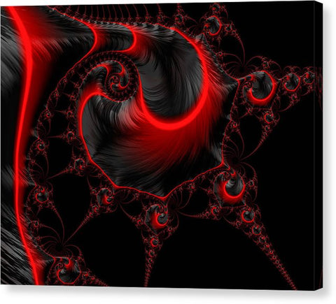 Glowing red and black abstract fractal art - Canvas Print