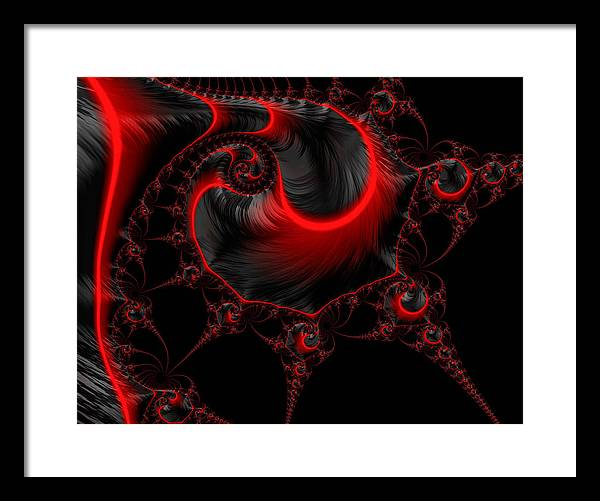 Glowing red and black abstract fractal art - Framed Print
