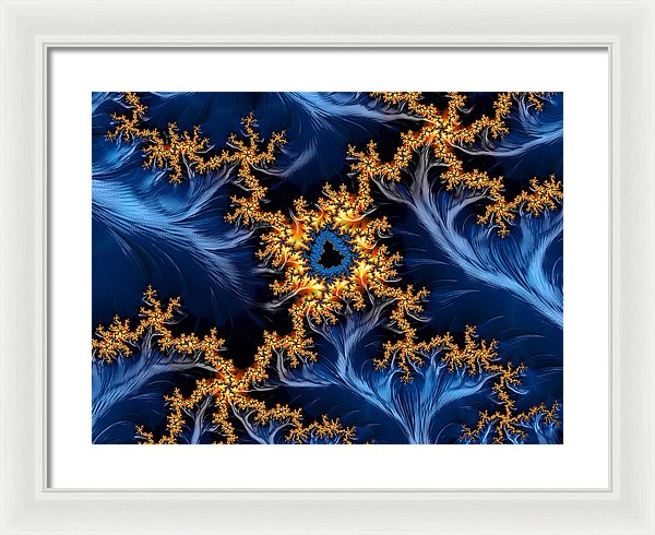 Golden And Blue Abstract Fractal Art - Framed Print