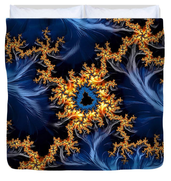 Golden And Blue Abstract Fractal Art - Duvet Cover