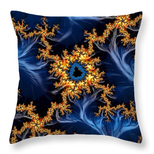 Golden And Blue Abstract Fractal Art - Throw Pillow