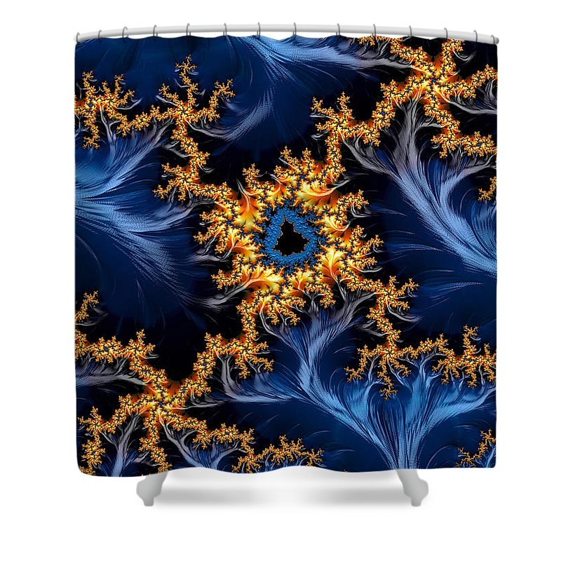 Golden And Blue Abstract Fractal Art - Shower Curtain