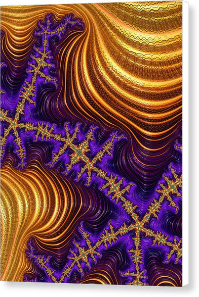 Golden And Purple Fractal River And Mountain Landscape - Canvas Print