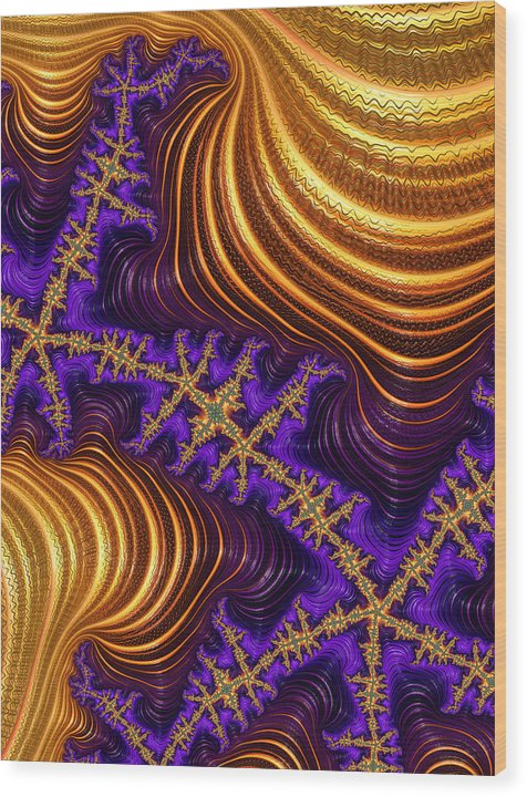 Golden And Purple Fractal River And Mountain Landscape - Wood Print