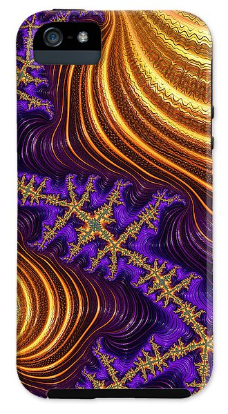 Golden And Purple Fractal River And Mountain Landscape - Phone Case