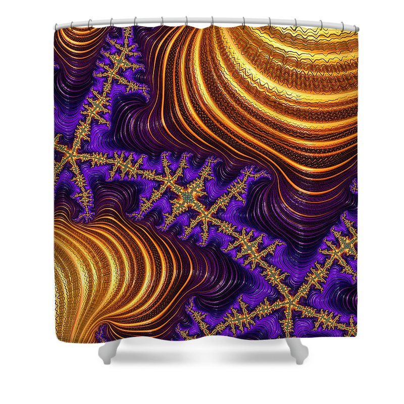 Golden And Purple Fractal River And Mountain Landscape - Shower Curtain