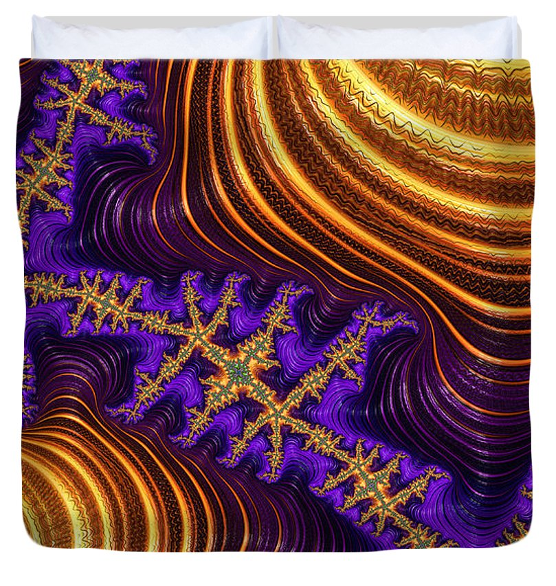 Golden And Purple Fractal River And Mountain Landscape - Duvet Cover