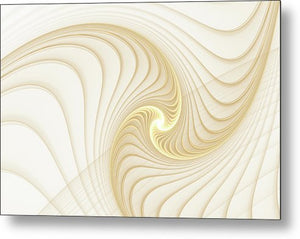 Golden And White Spiral Abstract - Metal Print