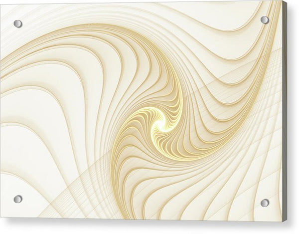 Golden And White Spiral Abstract - Acrylic Print